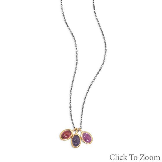 Multi-color Multi-stone Silver Setting Necklaces 16 Inches