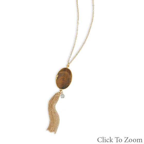 Brown Tiger Eye Gold Polish Necklaces 28.5 Inches