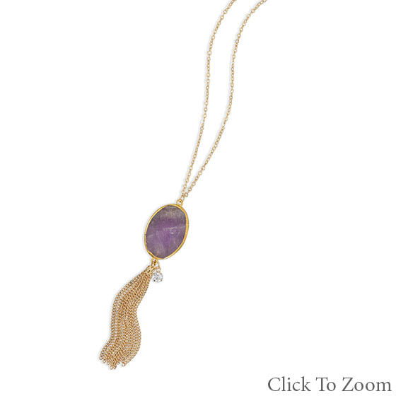 Purple Amethyst Gold Polish Necklaces 28 Inches