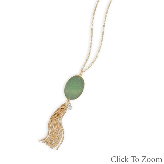 Green Aventurine Gold Polish Necklaces 28 Inches