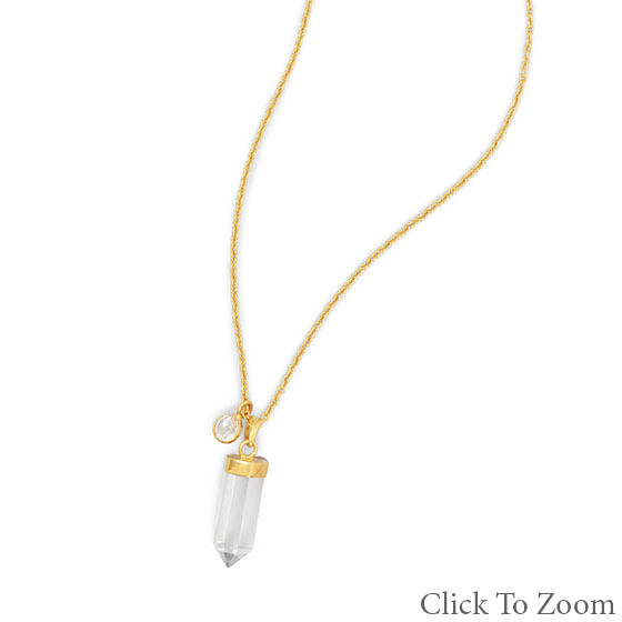 White Quartz Gold Plated Necklaces 18.5 Inches