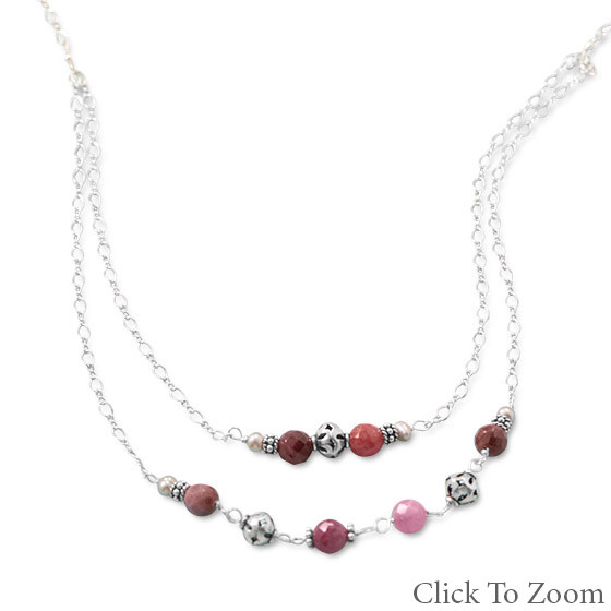 Multi-color Multi-stone Beaded Necklaces 18 Inches
