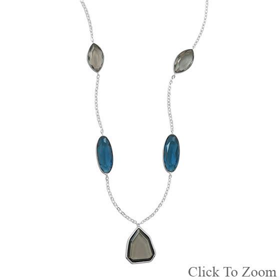 Multi-color Multi-stone Silver Setting Necklaces 19.5 Inches