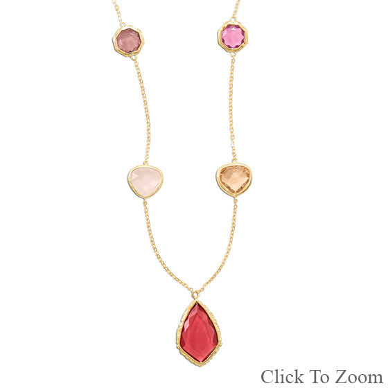 Multi-color Multi-stone Gold Plated Necklaces 21 Inches