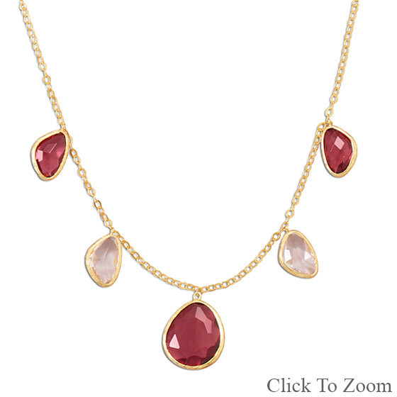 Multi-color Multi-stone Gold Plated Necklaces 17 Inches
