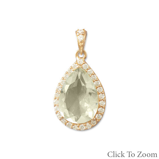 Green Green Amethyst Gold Plated Pendants 1.06 Inches