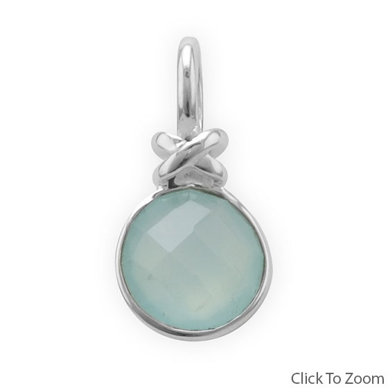 Green Chalcedony Silver Setting Pendants 0.86 Inches
