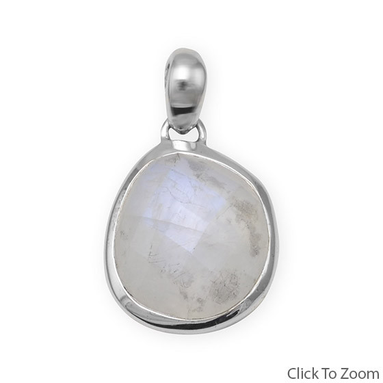 White Moonstone Silver Setting Pendants 0.68 Inches