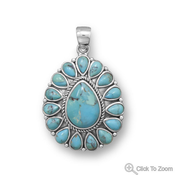 Blue Turquoise Silver Setting American-southwest Pendants 0.9 Inches