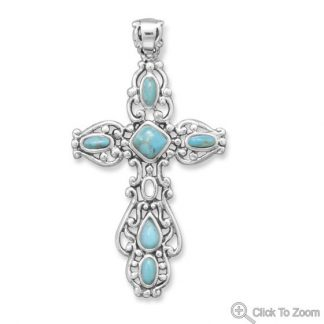 Blue Turquoise Silver Setting Religious Pendants 1.96 Inches