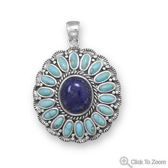Multi-color Turquoise Lapis Lazuli Silver Setting American-southwest Pendants 1.41 Inches