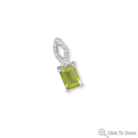 Green Peridot White Topaz Silver Setting Brides-maids Pendants 0.62 Inches