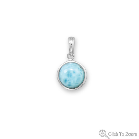 Blue Larimar Silver Setting Art-deco Pendants 0.74 Inches