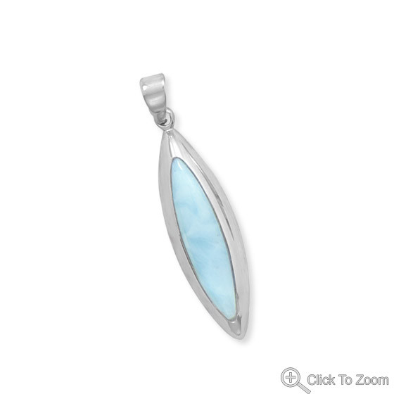 Blue Larimar Silver Setting American-southwest Pendants 1.57 Inches