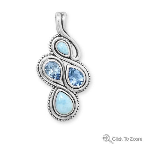 Blue Larimar Blue Topaz Silver Setting Art-deco Pendants 1.41 Inches