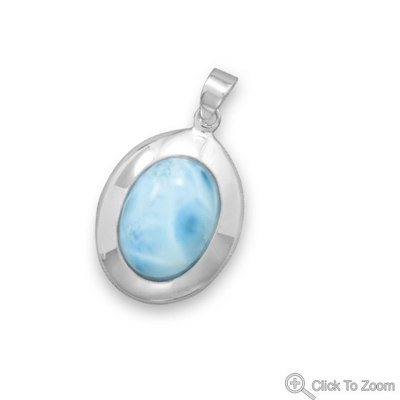 Blue Larimar Silver Setting American-southwest Pendants 1.33 Inches