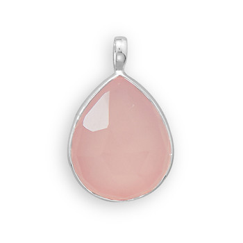 Pink Chalcedony Silver Setting Drop Pendants 1.1 Inches