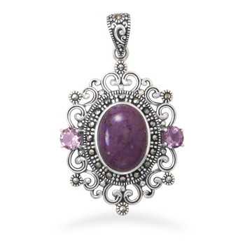 Purple Marcasite Turquoise Silver Setting Art-deco Pendants 1.77 Inches