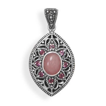Pink Rhodolite Opal Silver Setting Estate Pendants 1.22 Inches