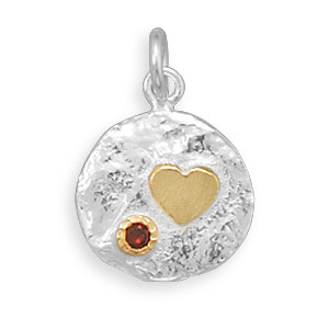 Red Cubic Zirconia Silver Setting Pendants 0.78 Inches