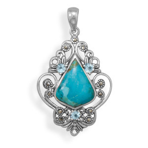 Blue Turquoise Blue Topaz Silver Setting Pendants 1.67 Inches