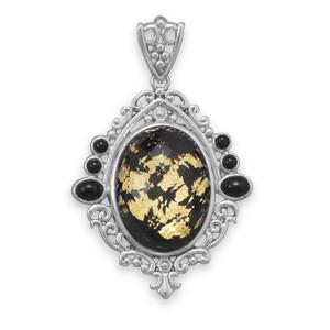 Black Onyx Quartz Silver Setting Pendants 1.71 Inches