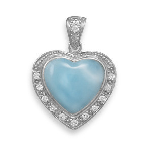 Blue Larimar Silver Setting Heart Pendants 0.66 Inches