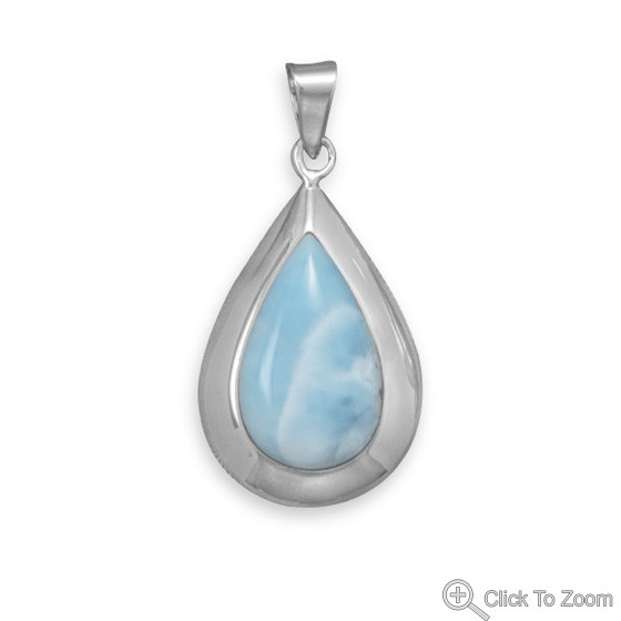 Blue Larimar Silver Setting Pendants 1.73 Inches