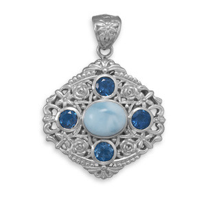 Blue Larimar Blue Topaz Silver Setting Pendants 1.78 Inches