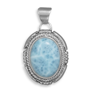 Blue Larimar Silver Setting Pendants 1.77 Inches