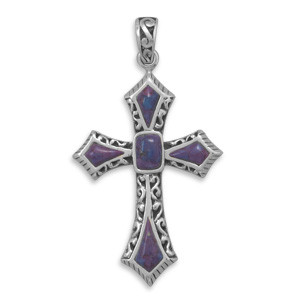 Purple Turquoise Silver Setting Religious Pendants 2.16 Inches