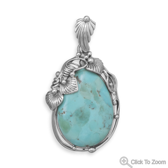 Blue Turquoise Silver Setting American-southwest Pendants 1.96 Inches