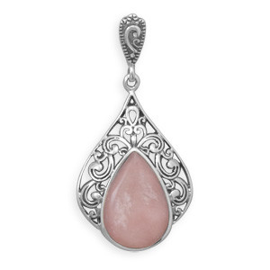 Pink Pink Opal Silver Setting Art-deco Pendants 1.49 Inches
