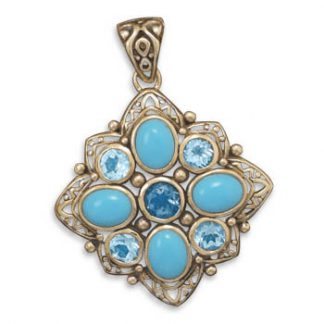 Blue Turquoise Blue Topaz Brass Pendants 1.88 Inches