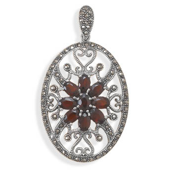 Red Garnet Silver Setting Estate Pendants 2.16 Inches