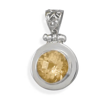 Yellow Citrine Silver Setting Pendants 1.53 Inches