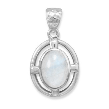 White Moonstone Silver Setting Pendants 1.39 Inches