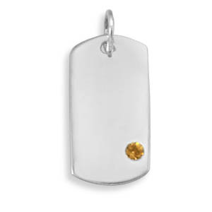 Yellow Crystal Silver Setting Pendants 0.7 Inches