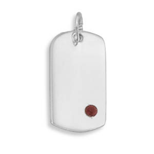 Red Crystal Silver Setting Pendants 0.7 Inches