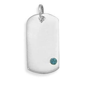 Blue Crystal Silver Setting Pendants 0.7 Inches