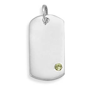 Green Crystal Silver Setting Pendants 0.7 Inches