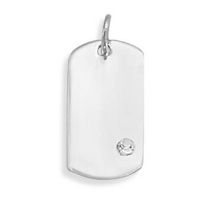 White Crystal Silver Setting Pendants 0.7 Inches
