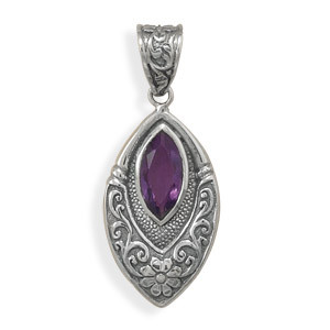 Purple Amethyst Silver Setting Pendants 0.53 Inches