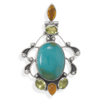 Multi-color Multi-stone Silver Setting Pendants 2.16 Inches
