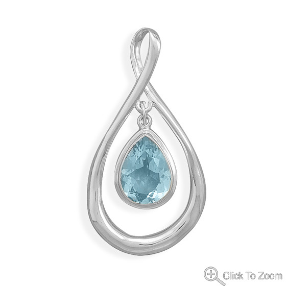 Blue Blue Topaz Silver Setting Pendants 0.47 Inches