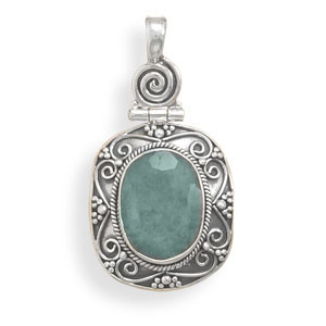 Green Emerald Silver Setting Pendants 0.59 Inches