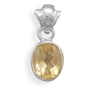 Yellow Citrine Silver Setting Pendants 0.41 Inches