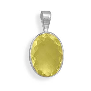 Yellow Lemon Quartz Silver Setting Pendants 0.98 Inches