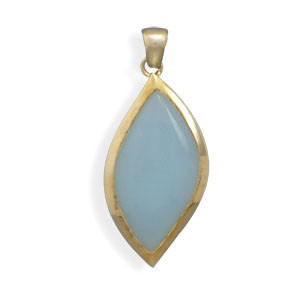 Blue Yellow Chalcedony Silver Setting Pendants 0.98 Inches
