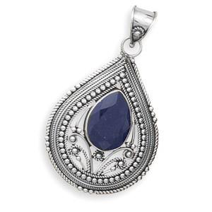 Blue Sapphire Silver Setting Pendants 1.96 Inches